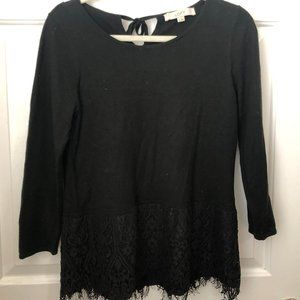 Black 3/4 Sleeve Sweater with Peplum Lace Bottom